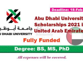 Study in UAE Abu Dhabi University Scholarships 2021 (Fully Funded)